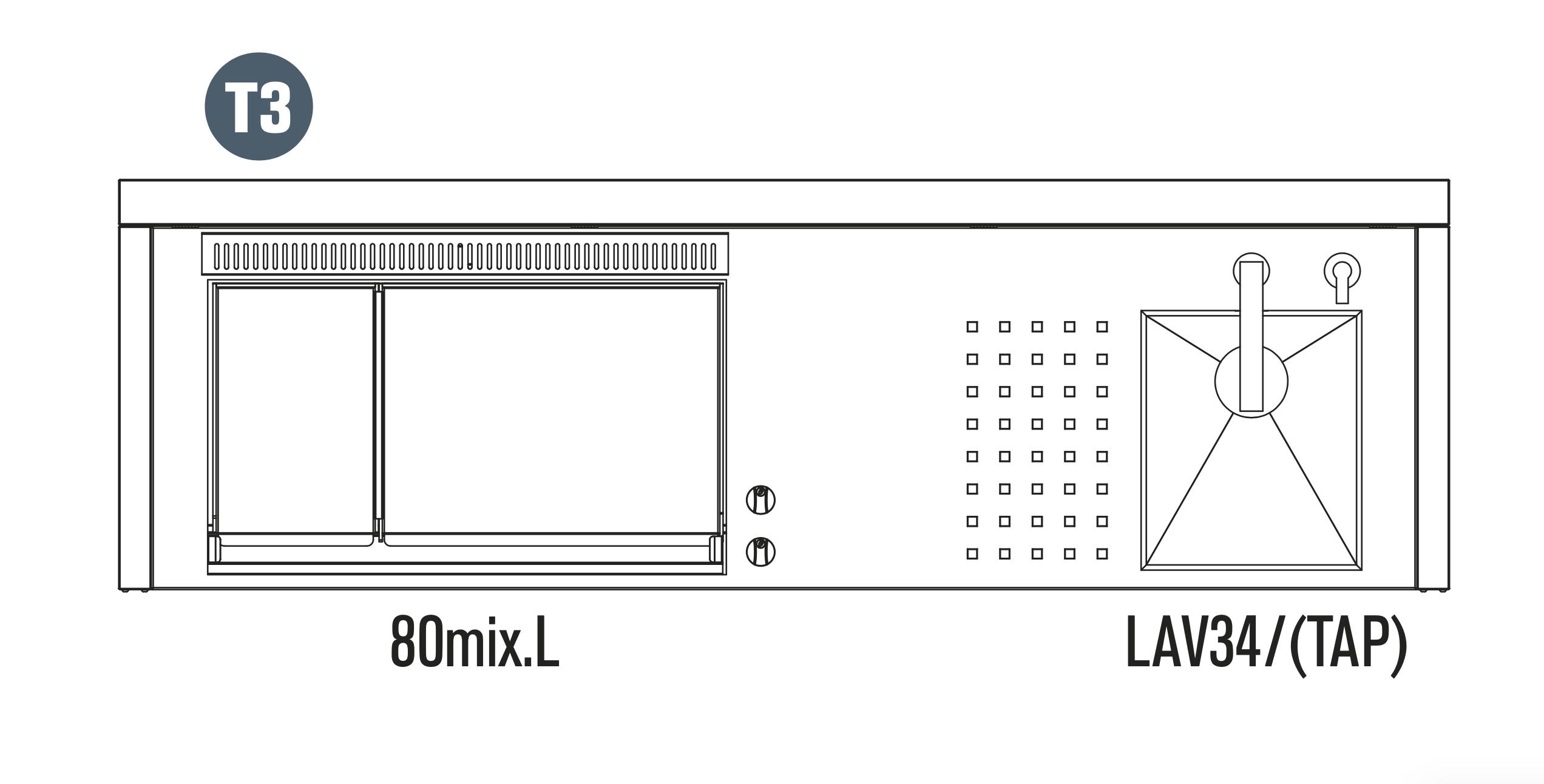 OASI Serie Outdoorküche 205-C5 T3 (IN 80 MIX L)