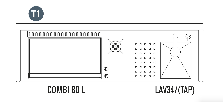 OASI Serie Outdoorküche 205-C5 T1 (IN 80 Combi L)